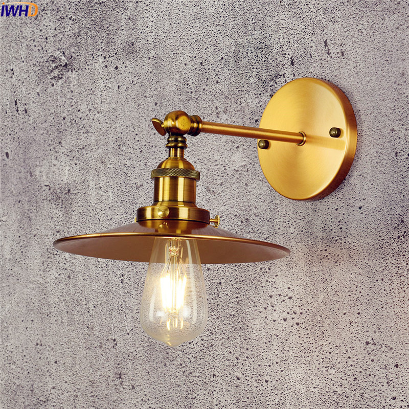 IWHD Copper Vintage Wall Lights For Home Lighitng Beside Lamp Antique Retro LED Wall Light Edison Arm Sconce Stair Lighting