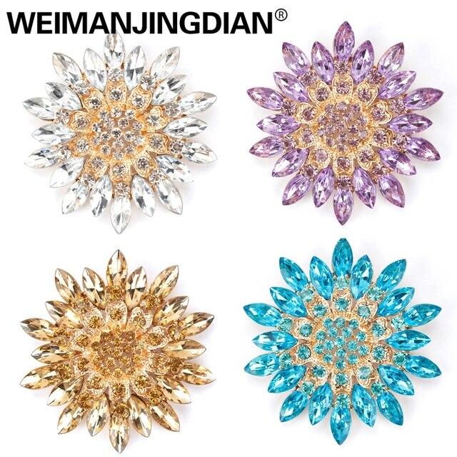 Weimanjingdian Indah Berbagai Macam Warna Kopi/Ungu/Merah/Bening/Hitam Kristal Daisy Bunga Bros Pin untuk Wanita