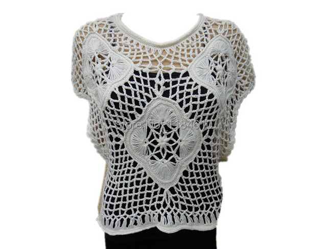 Handmade Crochet Crop Tops Women Summer Cute Floral Lace Blouse