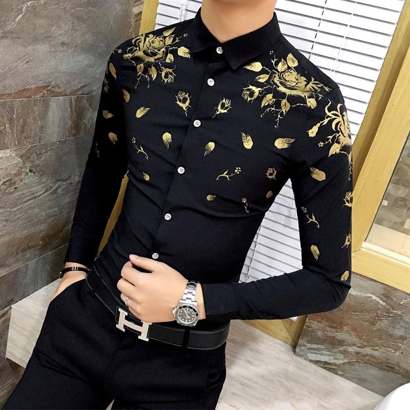 b70e2ab7 Men Dress Shirt with Gold Print Black White Long Sleeve Fashion ...