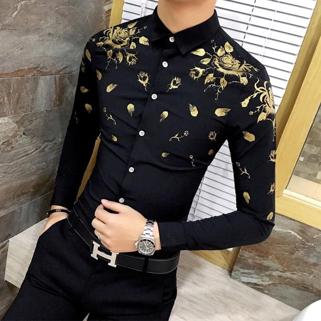 27e49102bd0 Men Dress Shirt with Gold Print Black White Long Sleeve Fashion Designer  Shirt Fancy Shirts Men