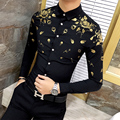 Os homens Se Vestem Camisa com Estampa De Ouro Branco Preto de Manga Longa Camisa Designer De Moda Fantasia Camisas Homens Camisa Floral Do Vestido de Casamento