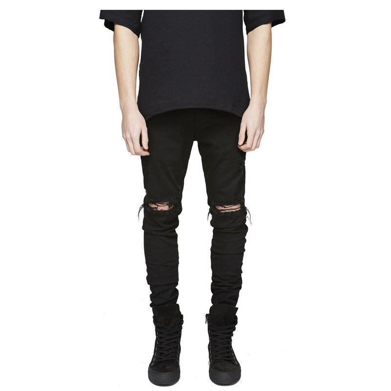 ФОТО Famous Brand Designer Slim Fit Ripped Jeans Men Hi-Street Mens Distressed Denim Joggers Knee Holes Washed Destroyed Jeans CL0107