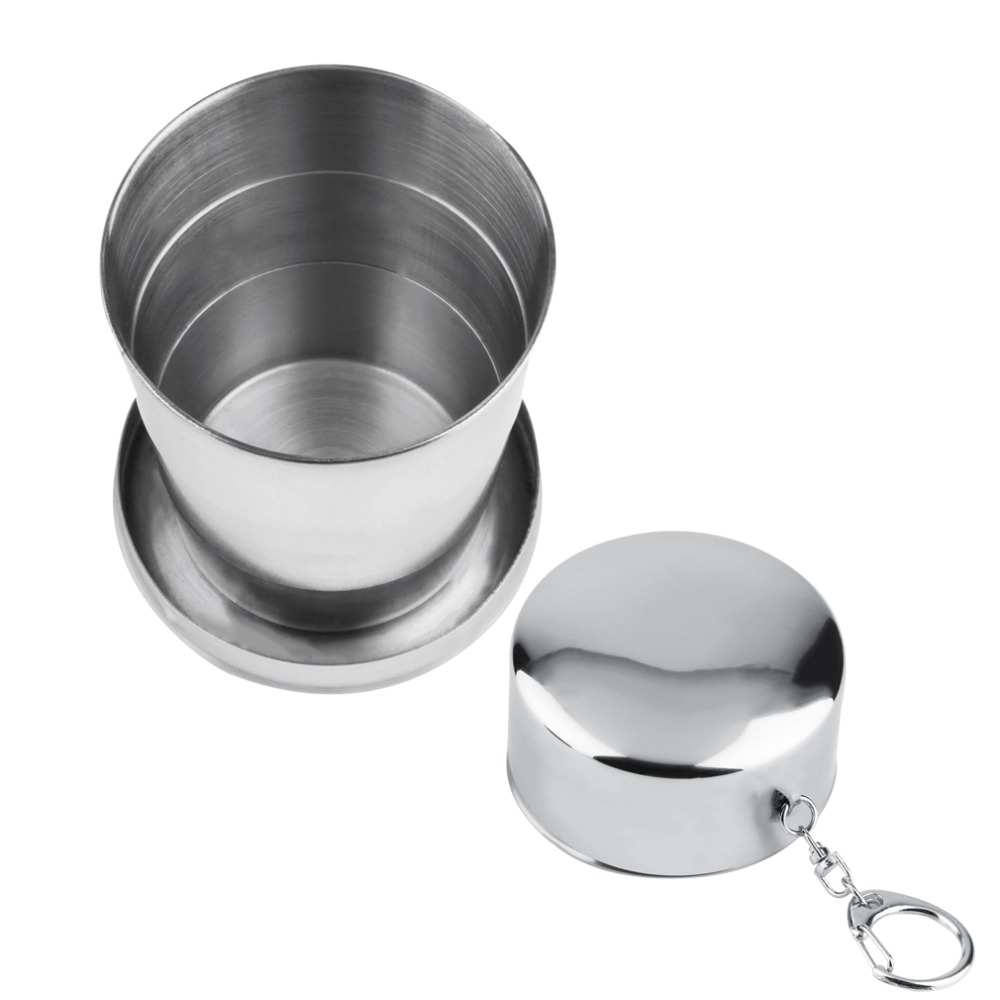 Image 4 - Eco Friendly light Weight 150ml Stainless Steel Portable Folding Telescopic Collapsible Outdoor Camping Traveling Cup Bottle-in Outdoor Tablewares from Sports & Entertainment