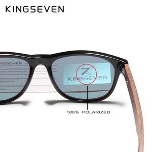Image 4 - KINGSEVEN Handgemaakte Zwarte Walnoot Zonnebril Mens Houten Brillen Vrouwen Gepolariseerde Spiegel Vintage Vierkante Ontwerp Oculos de sol