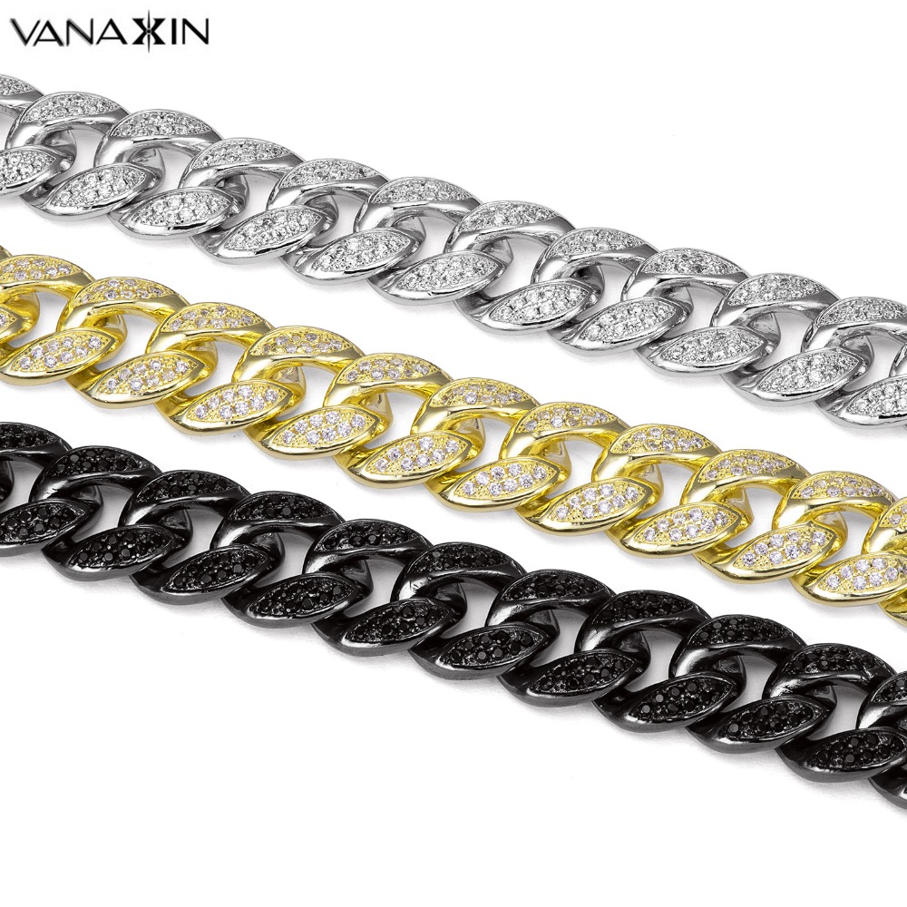 VANAXIN 925 Sterling Silver Bracelets For Men Women AAA Micro Pave CZ Crystal Jewellery Gold Black