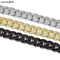 VANAXIN 925 Sterling Silver Bracelets For Men Women AAA Micro Pave CZ Crystal Jewellery Gold/Black Color High Quality Gift Box
