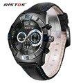 Ristos Top Marca de Luxo Mens Relógios de Quartzo relógio Militar Relógio Do Esporte Do Cronógrafo Homens De Couro Casual Relógios de Pulso relogio masculino