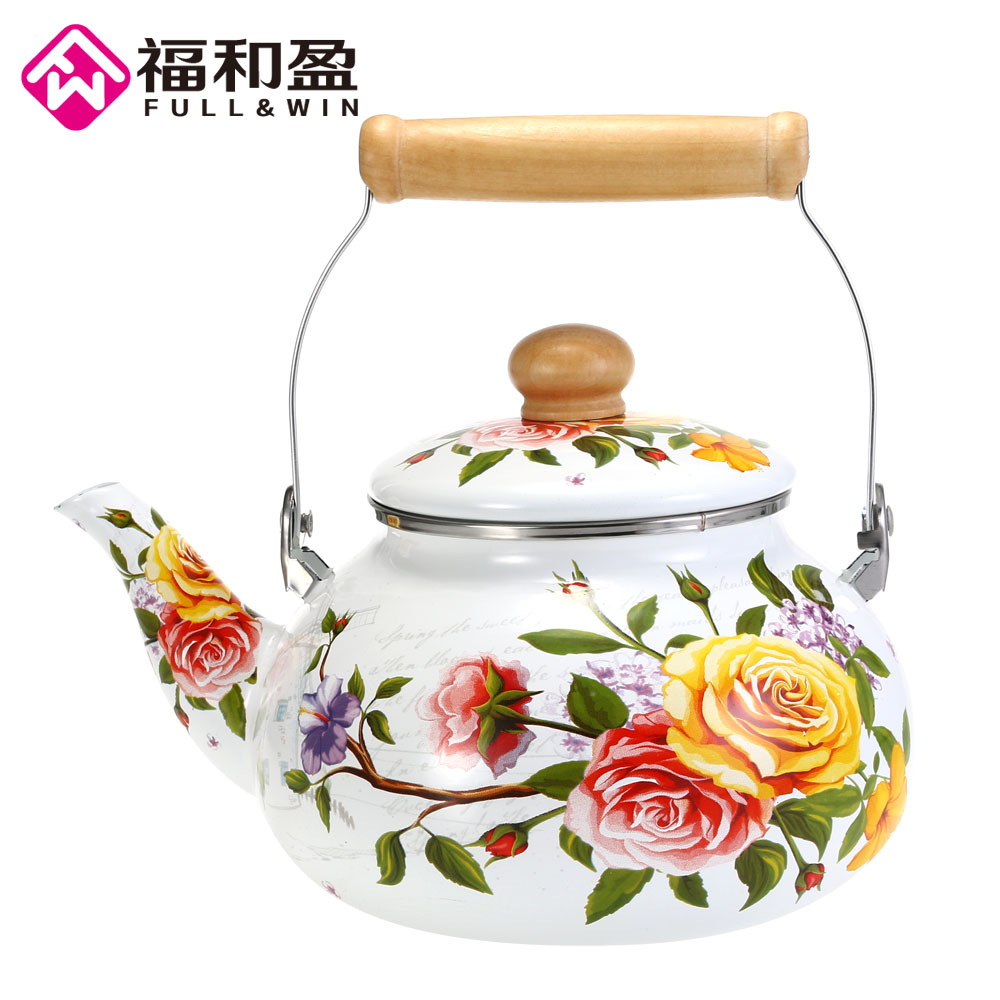 1pcs 2.5L Flowers Stamp Pot Smooth Kettle Enamel Tea Pot Used On Electromagnetic Stove/Gas Range/Electronic Tube1pcs 2.5L Flowers Stamp Pot Smooth Kettle Enamel Tea Pot Used On Electromagnetic Stove/Gas Range/Electronic Tube