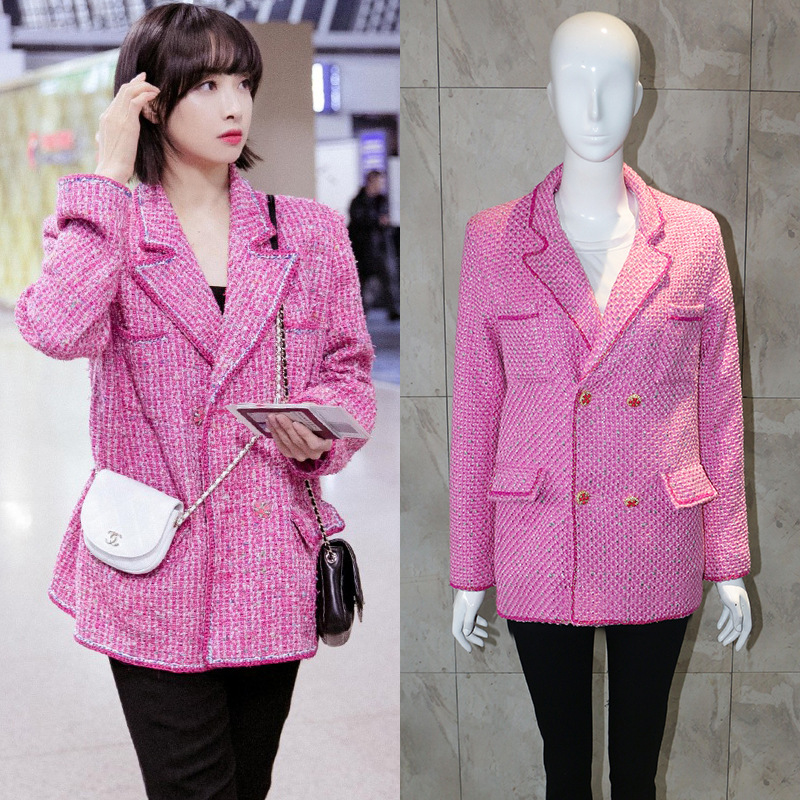 2019 New Fashion Week Star With The Same Pink Small Fragrance Coat Chic Gas Tweed Jacket Female Suit Blazers