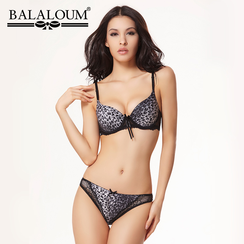 BALALOUM Sexy Women Leopard Print Lace Push Up Bra Panty Sets Brassiere Seamless T Back Thongs Underwear Lingerie Set Soft