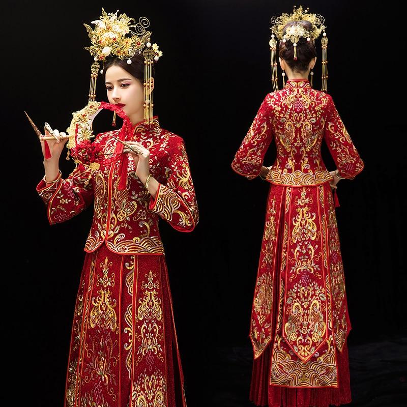 100% Kwaliteit Traditionele Chinese Rode Vrouwen Cheongsam Pak Klassieke Mandarijn Kraag Qipao Elegante Bruid Trouwjurk Jurk Vintage Kostuums Set