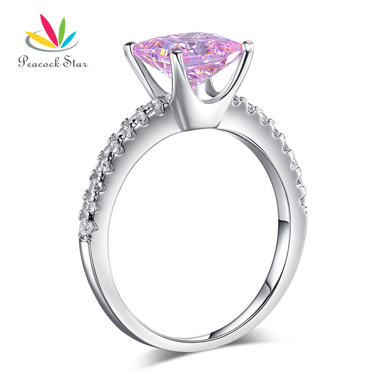 Peacock Star 1 5 Ct Fancy Pink Stone 925 Sterling Silver Wedding Ring Promise Anniversary CFR8246