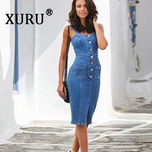XURU Summer New Women's Denim Dress Sexy Slim Pack Hip Strap Split Button Dress Fashion Casual Pencil Dress цена и фото