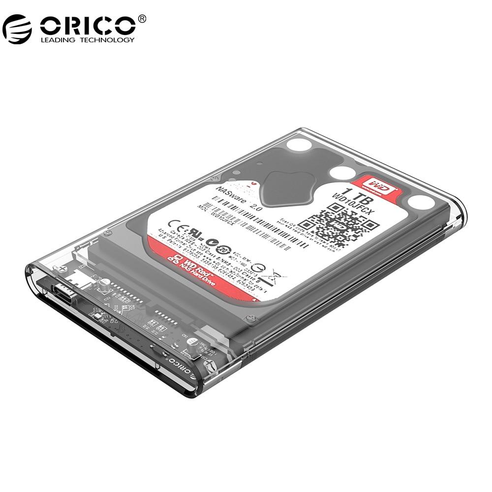 ORICO 2139C3 Tip C Ohišje trdega diska UASP 2,5-palčni prozorni USB3.1 ohišje trdega diska Podpora UASP protokol
