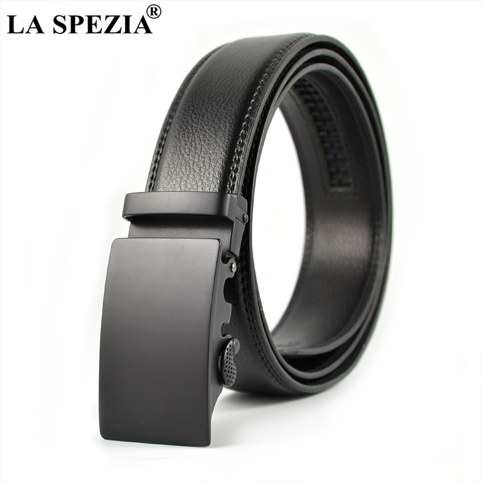 Men's Belts La Spezia Cowhide Leather Belt For Men Automatic Buckle Belt Male Black Formal Business Solid Vintage High Quality Brand Belts Fast Color