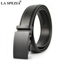 LA SPEZIA Men Accessories Belt Automatic Buckle Black Suit Belts No Holes Male Business Formal Real Leather Solid Man'S Belts