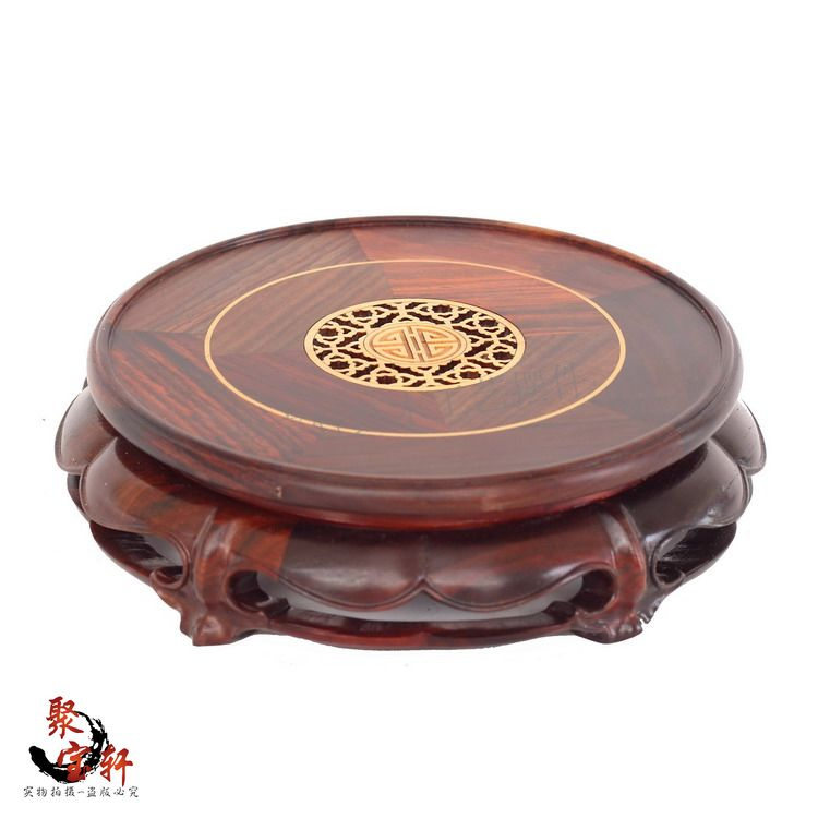 wooden flower stone furnishing articles red mahogany base household act the role ofing is tasted handicraft figure of Buddha household act the role ofing is tasted mahogany wood carving handicraft circular base of buddha stone are recommended