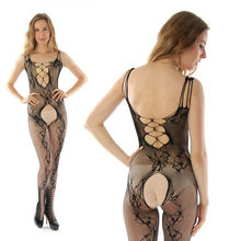 fashion sex dolls Open Crotch Black lingerie charming Fishnet lingerie sexy costumes Flasher catsuit underwear for women 8700