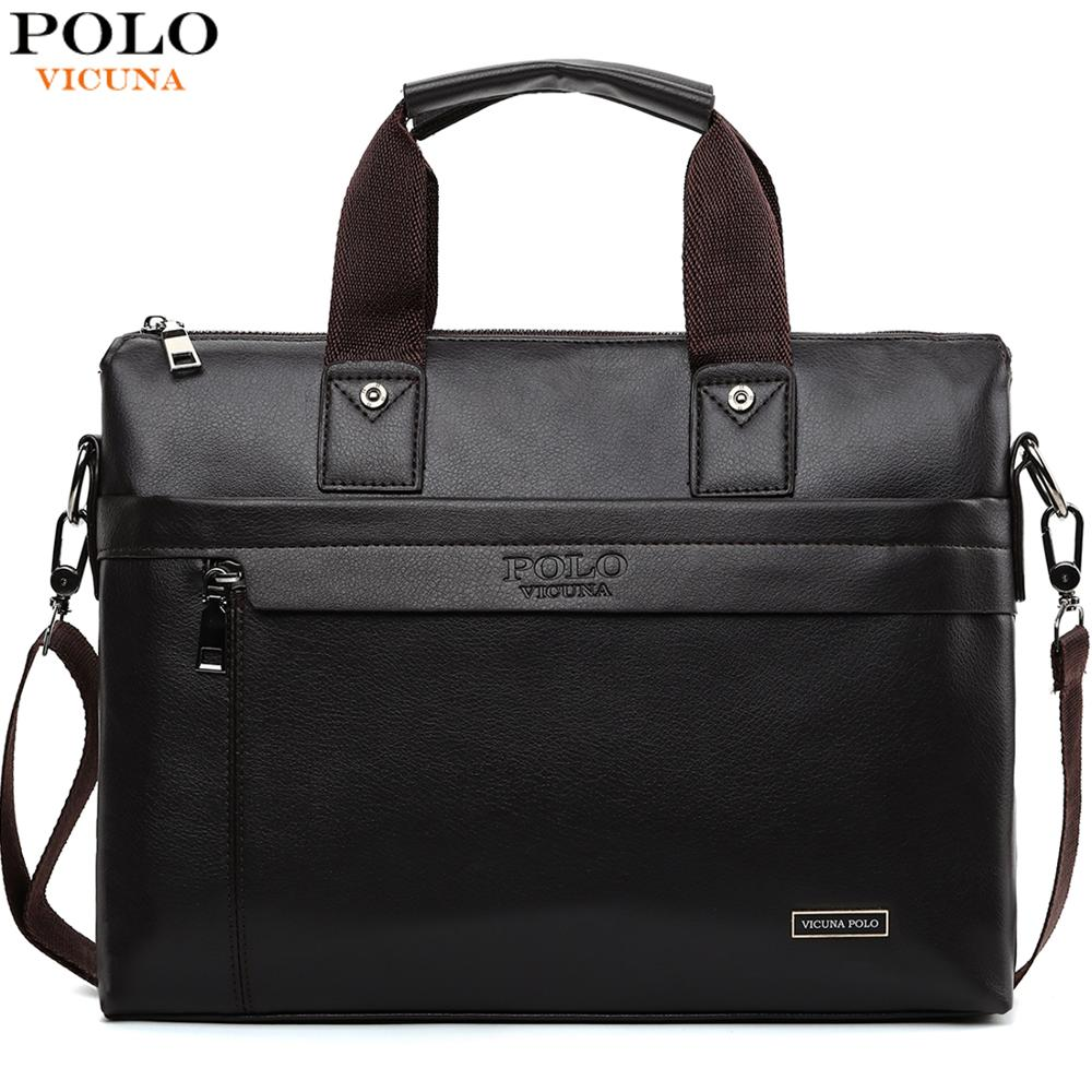 Casual Man Briefcase-Bag Laptop-Bag Shoulder-Bags Vicuna Polo Business Fashion Famous-Brand