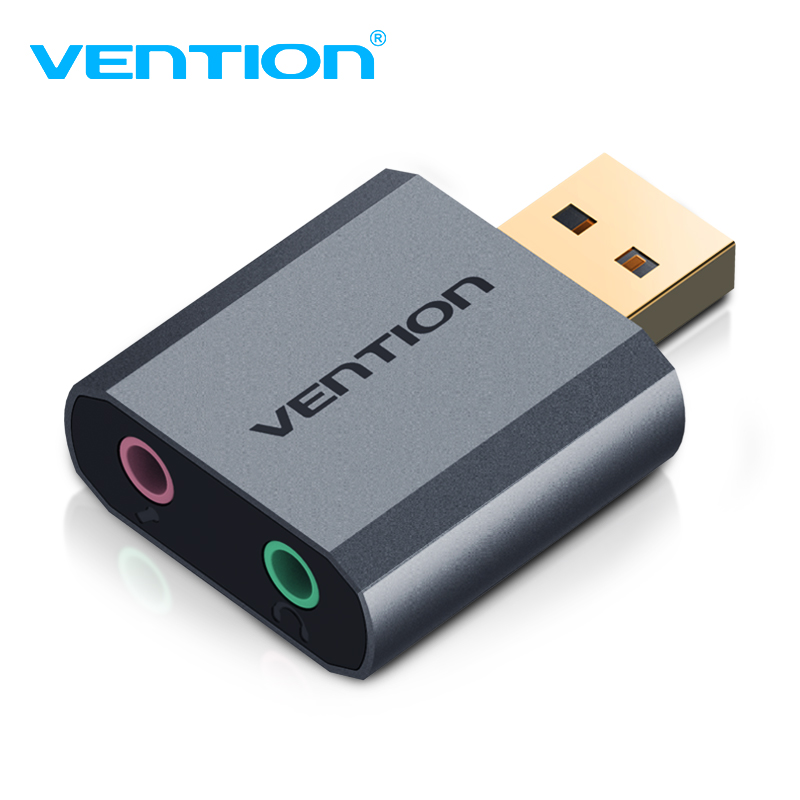 Vention USB Sound Card USB To 3.5mm Audio Earphone Adapter PUBG External Sound Card 7.1 Audio Card For Mic Headphone Computer PC 1pcs pk 3 external usb sound card 2 1 channel audio adapter with headset mic for pc desktop notebook output power 800mw purple