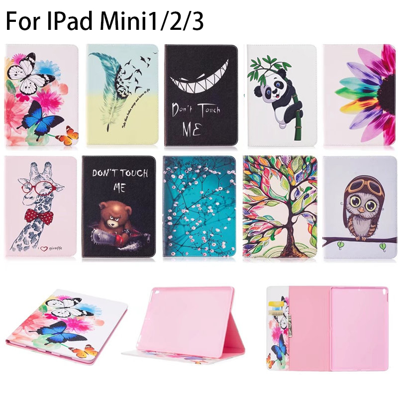 все цены на For Apple iPad Mini Case Owl Butterfly pattern Leather Smart Case cover For ipad Mini 1 2 3 tablet with card slot for ipad mini