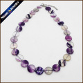 Natural Stone Jewelry Necklace & Pendants For Women Real Rainbow Fluorite Crystal Flat Coin Beads Strand Choker Collares 19.5""