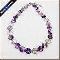 """Piedra natural de la joyería del collar y colgantes para las mujeres verdadero arco iris de fluorita crystal choker collares flat coin beads strand 19.5"""""""