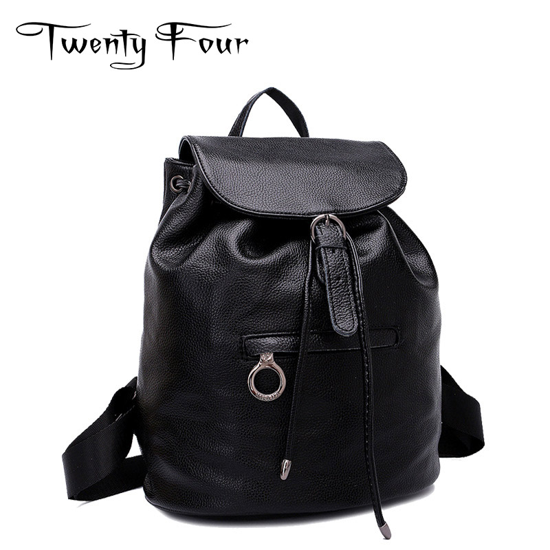 Twenty-Four Women Backpacks Genuine Leather Ladies Travel Backpack For Teenagers School Bag Black Vintage With Cover Mochilas twenty four women backpacks genuine leather ladies travel backpack for teenagers girls bucket bag vintage real leather mochilas