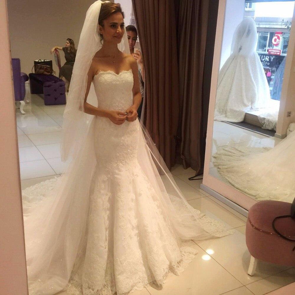 Por Encargo vestidos de noiva Sirena Sin Tirantes de La Sirena Del Cordón Atract