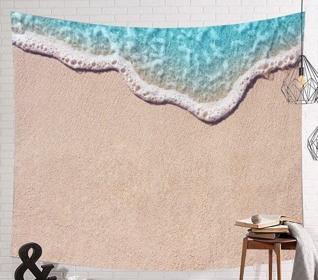 Image 3 - CAMMITEVER голубое море гобелены из слоновой кости Aubusson цветной декор с принтом Мандала Бохо стены ковер Богемия пляж тканевый коврик-in Гобелен from Дом и животные