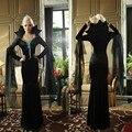 New Halloween Bat Queen Costumes Adult Women Deluxe Vampire Costume Suit Black Long Dress Witch Queen Clothing for Women