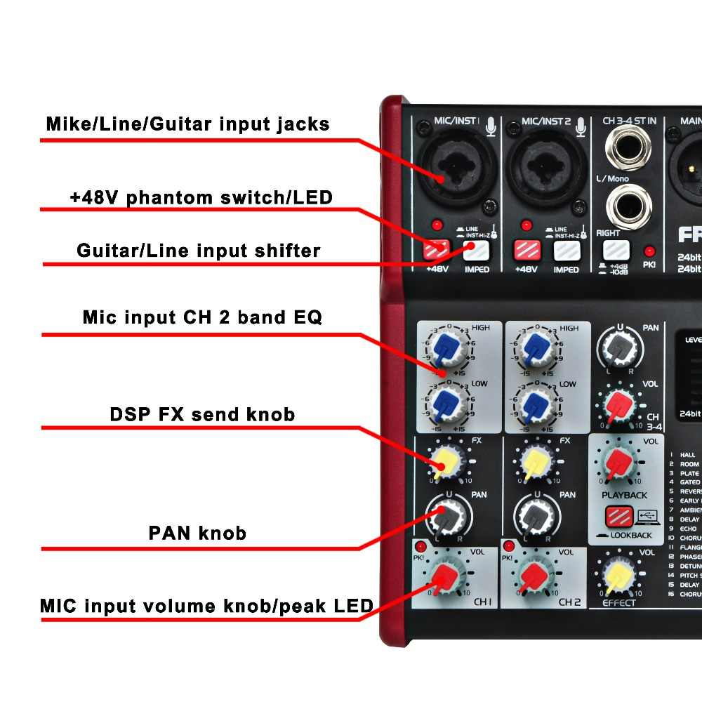 UM-66 4 канала 16 Цифровые эффекты 24 бит процессор для цифровой обработки сигналов звуковая карта (пластина зала задержка эхо) запись аудио миксер