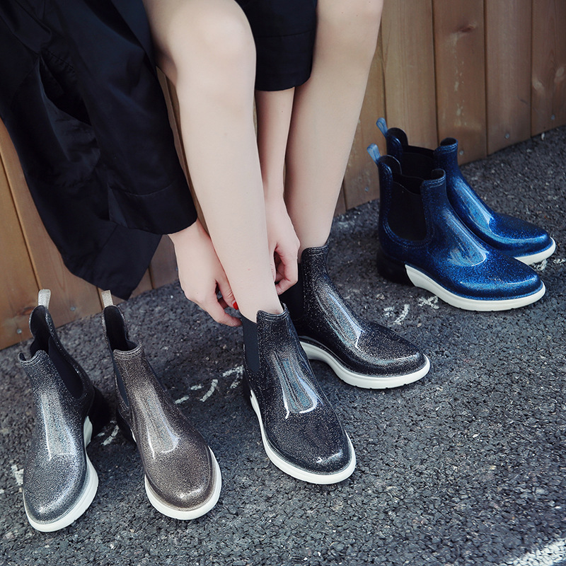Women New Fashion Shiny Glitter Waterproof Rainboots Female Non Slip Water Boots Woman Platform Shoes Wellies in Ankle Boots from Shoes