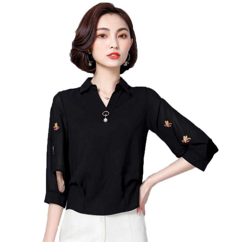 2f30bd57c Camisa de chifón de talla grande para mujer Camisas de verano Casual suelta  bordada blusas de mujer ...