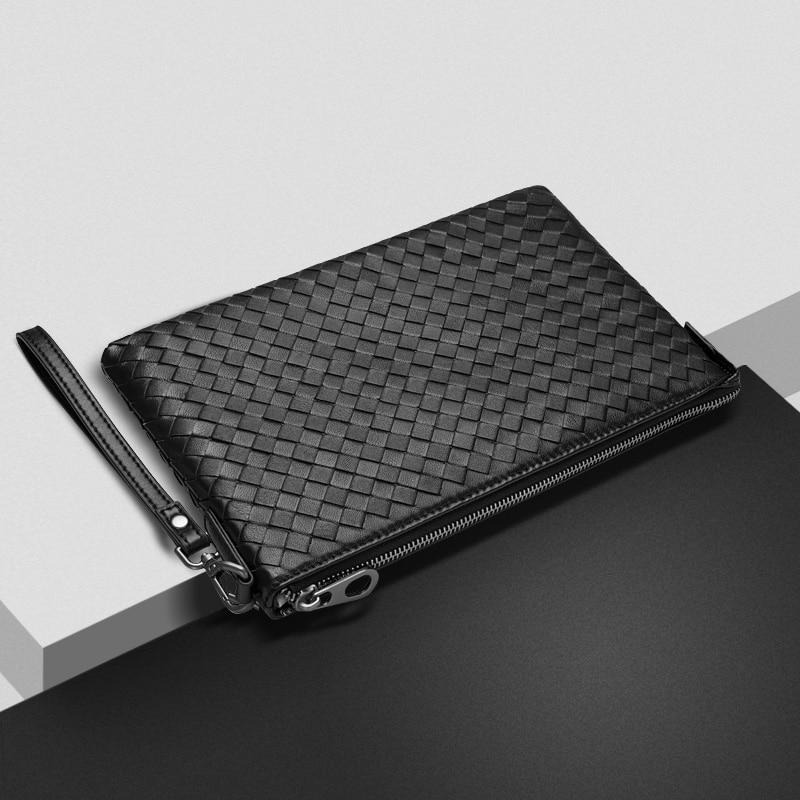 New sheepskin woven handbag Wristlet clutch made of leather envelope large Korean business casual soft bag все цены
