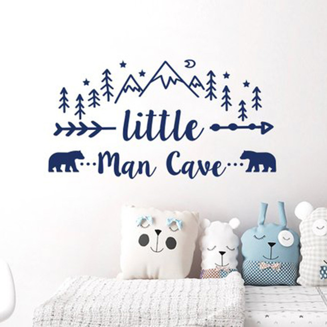 Little Man Cave Wall Decals Quote Words Nursery Boys Room Decor Stickers Removable Mural For Kids L924