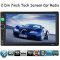 New arrival 2 Din 7'' inch LCD Touch screen car radio player support BLUETOOTH hands free 1080P movie rear view camera car audio