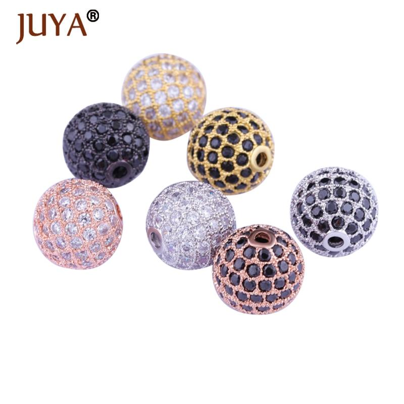 6/8/10/12mm Round Brass Micro Pave Clear Cubic Zirconia Black CZ Charm Metal Beads DIY Jewelry Bracelet Rhinestone Disco Ball rhinestone palm charm bracelet