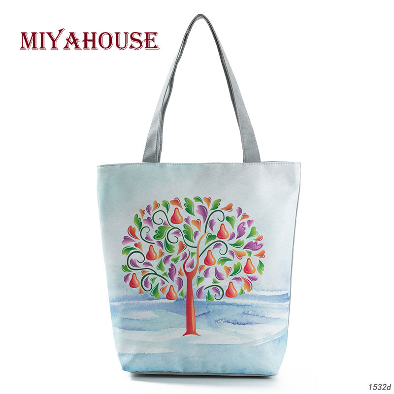 Colorful Tree Print Shoulder Handbag Women Summer Beach Bags Candy Color Female Canvas Tote Bag Girls Shopping Bags