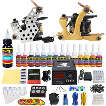 цена на Stigma Tattoo Complete Starter Beginner Tattoo Kit 2 Pro Machine Guns 14 Inks Power Supply Foot Pedal Needles Grips Tips TK212