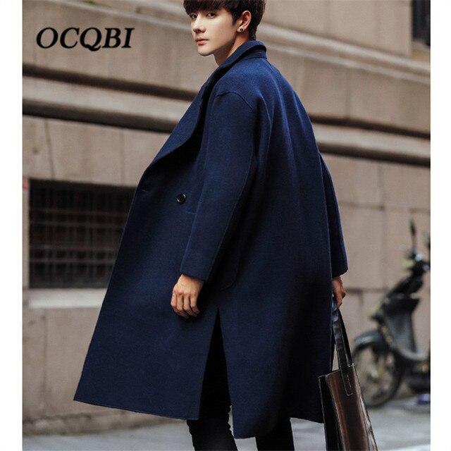2018 Smart Повседневное формальные шерстяные мужские пальто карманы Свободные пальто мода зима платье пальто Oversize
