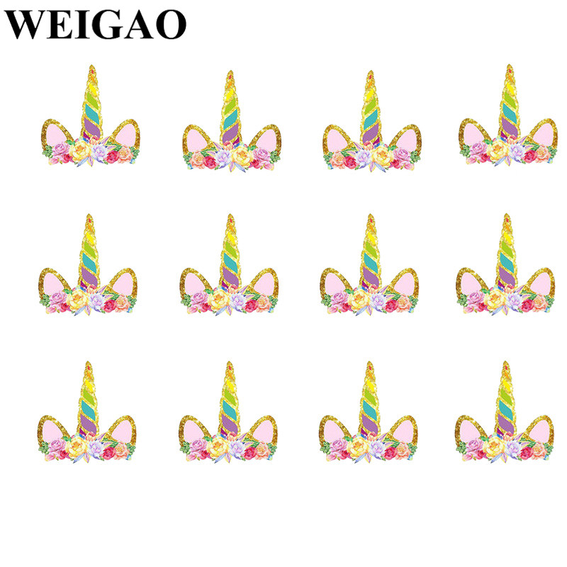 WEIGAO 12Pcs Unicorn Party Cake Toppers Cupcake Topper Baby Shower Kids Birthday Party Decor Festa Party Decoration Supplies