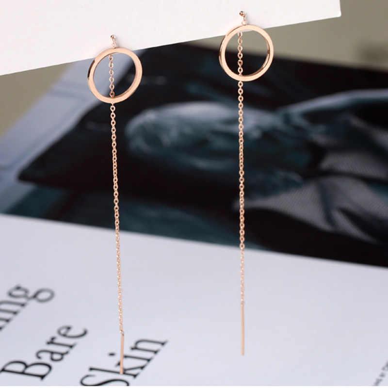 SMJEL สแตนเลสวงกลม Drop ต่างหูผู้หญิงรอบ Threader ต่างหูหูยาวสายโซ่หูแฟชั่นต่างหูเครื่องประดับ