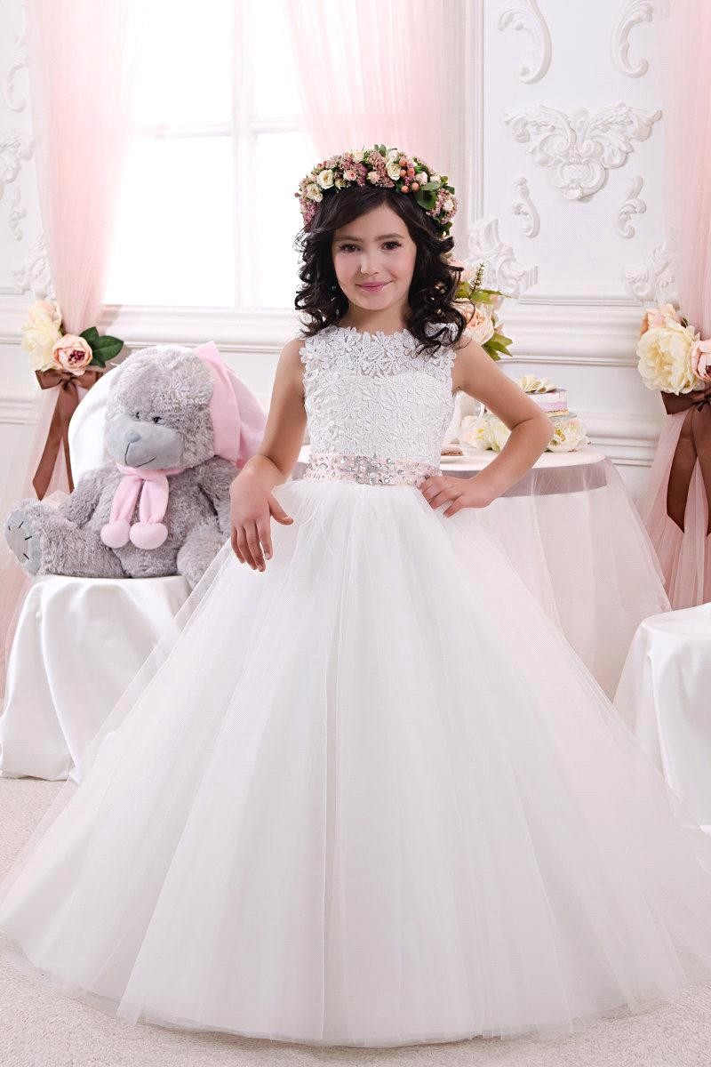 White New 2017 Girls Custom Pageant Gown First Communion Dresses A Line Lace Flower Girl Dress With Beaded Sashes cute new long sleeves white ball gown flower girl dresses french lace beaded first communion dress with sequin bow and sash