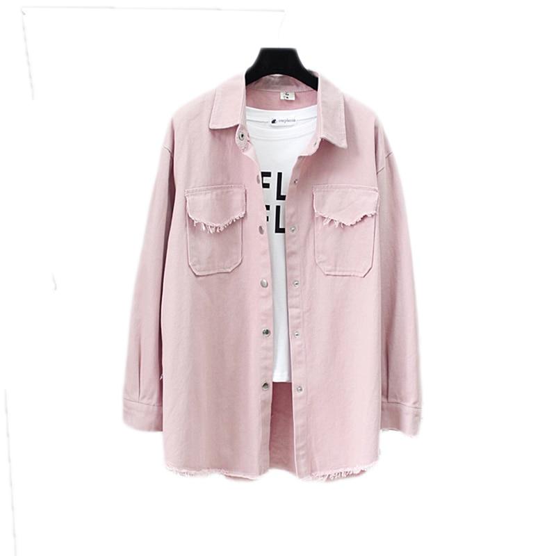 2019 Fashion Women Vintage Spring Autumn New lapel Tassel Denim   Jackets   women loose Casual Long Sleeve female thin   Basic     Jacket