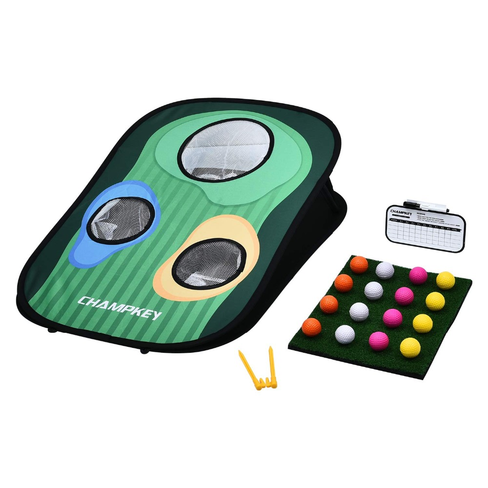 Champkey Golf Cornhole Game | Includes Chipping Target, 16 Foam Balls, Hitting Mat,Score Board and Carrying Case