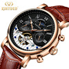 KINYUED Moon Phase Skeleton Watch Men Classic Perpetual Calendar Tourbillon Mechanical Watches Automatic Mens Erkek Kol