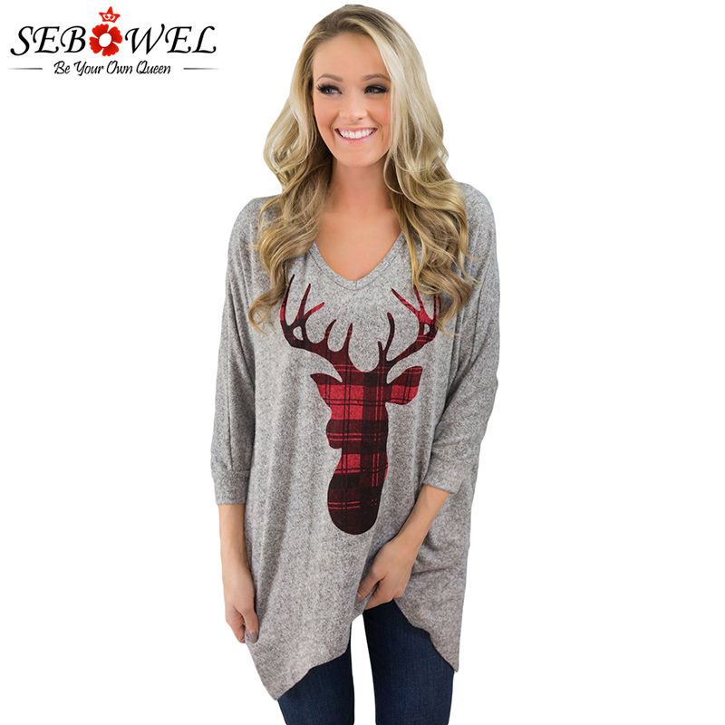 Christmas Tops Plus Size.Us 17 08 49 Off Sebowel Gray Christmas Deer Long Sleeve Tshirt Women Pullovers Christmas Tunic Tops Plus Size Female T Shirt Christmas Clothes In