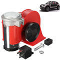 New 12V 136db Red Snail Compact Air Horn Air Car Truck Motorcycle Boat RV